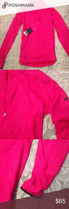 """Woman's Nike Dri - Fit Top New Raspberry Dri - Fit Top , 14"""" Zipper , Thumbholes , Pit To Pit 18"""" , Shoulder To Hem 24"""" , Supple Damask Pattern ( You Have To Look Closely ) Nike Tops"""