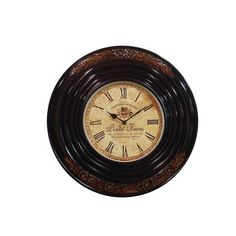 Classic Wooden Carving Wall Clock, Black And Brown - FOLKBRIDGE.COM | Buy Gifts. Indian Handicrafts. Home Decorations.