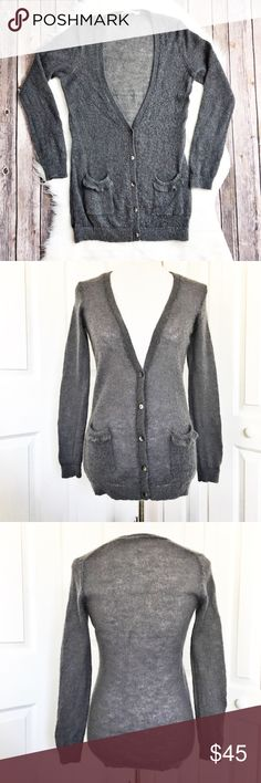 "Boden Cardigan Adorable gray fuzzy cardigan by Boden.  Features cute pockets in the front.  Material tag has been cut but this is a cashmere/wool blend.  In very good condition.  Measurements laid flat: bust 19"" and length from top of shoulder to hem 29"". Boden Sweaters Cardigans"