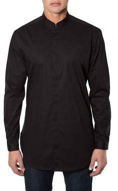 7 Diamonds 'Brightside' Longline Mandarin Collar Woven Shirt