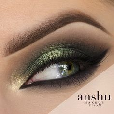 Anshu tells the forest's story with this exquisite green look featuring Makeup Geek Eyeshadows in Americano, Peach Smoothie, Stealth, and Vanilla Bean + Makeup Geek Duochrome Eyeshadows in Typhoon and Voltage.