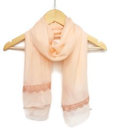Chiffon with Lace Lightweight Scarf in PeachCircle by HeraScarf, $20.00
