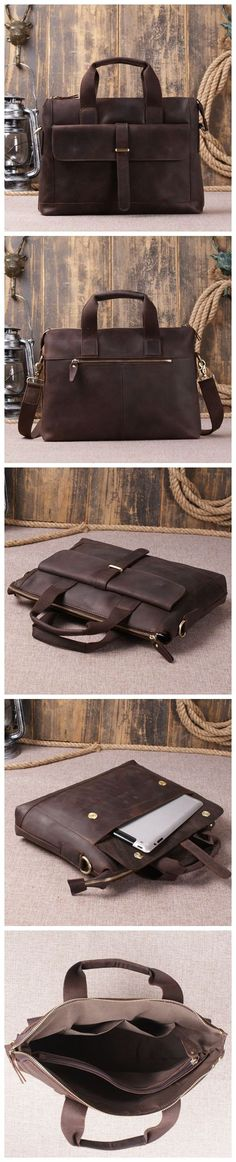 ac53f81466 Genuine Leather Mens Briefcase Messenger Bag Laptop Shoulder Bag Brown Leather  Laptop Bag