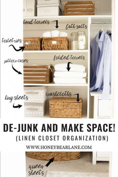 """De-junk and Make Space! Organize your linen closet the Konmari way. Keep things that """"spark joy"""" except that sometimes you need to keep things for more practical reasons. #linencloset #konmari #sparkjoy #organization #dejunk"""