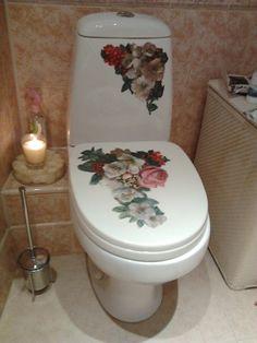 Декупаж на сантехнике Decoupage toilet