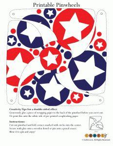 Red White and Blue Stars Pinwheel
