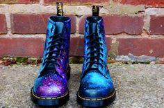 Galaxy Cosmic Print Dr Martens. Hand Painted . made to order. any size. £175.00, via Etsy.