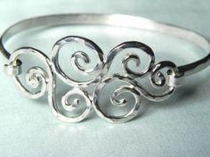 Swirly waves sterling silver hook bracelet....love.