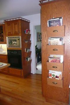 Cookbook Storage Design, Pictures, Remodel, Decor and Ideas Cookbook Display, Cookbook Storage, Kitchen Storage, Dorm Room Layouts, Dorm Rooms, Storage Design, Storage Ideas, Rack Design, Storage Boxes