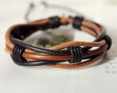 Winter Gift Fashion Multilayer black Leather cuff by Colourfashion, $3.50