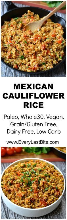 paleo keto vegan This Low Carb Mexican Cauliflower Rice is so easy to make and full of flavour. It is the perfect base for any Mexican dish or wonderful on its own topped with salsa and avocado. Veggie Recipes, Paleo Recipes, Mexican Food Recipes, Low Carb Recipes, Cooking Recipes, Vegetarian Low Carb Meals, Vegetarian Recipes Dairy Free, Avocado Recipes, Paleo Cauliflower Rice