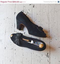 SALE... vintage 1940s shoes / black 40s heels / by DearGolden, $63.75