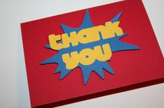 40 Super Hero Thank You Note by EmbellishedPaper on Etsy Superhero Birthday Party, 1st Birthday Parties, Boy Birthday, Father's Day Celebration, Thank You Notes, Handmade Gifts, Crafts, Supergirl, Etsy