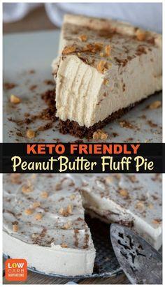 Keto Peanut Butter Pie Recipe – amazing keto pie recipe that's fluffy! Keto Peanut Butter Pie Recipe – amazing keto pie recipe that's fluffy! Desserts Keto, Keto Snacks, Keto Foods, Holiday Desserts, Easy Keto Dessert, Diabetic Dessert Recipes, Keto Desert Recipes, Carb Free Desserts, Low Sugar Desserts
