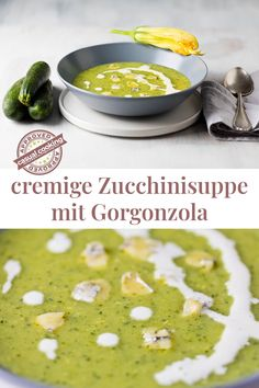 cremige Zucchinisuppe mit Gorgonzola ist ein absolutes Geschmackserlebnis. Der Gorgonzola sorgt für eine würzige Note und extra Cremigkeit. Suppen sind zu jeder Jahreszeit großartig. Diese gesunde Zucchinisuppe ist in nur 20 Minuten fertig! Super einfach und schnell. Snacks, Note, Ethnic Recipes, Veggie Food, Vegetarian Recipes, Eat Lunch, Food Dinners, Super Simple, Simple Recipes