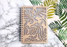 tropical summer laser cut wood journal notebook fashion home etsy 3d Laser, Laser Cut Wood, Laser Cutting, Diy Notebook, Journal Notebook, Wooden Workshops, Front Cover Designs, Wooden Books, Wood Projects