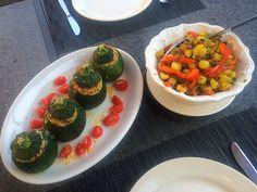 Vegetarisch gevulde Bolcourgettes met Paprika Krieltjes