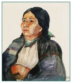Douse, Chieftainess of Kitwancool, c. 1928 watercolour on paper © Emily Carr (Victoria, Canada 1871 - Emily Carr, Needlepoint Patterns, Counted Cross Stitch Patterns, Alaska, Franklin Carmichael, Tom Thomson, Group Of Seven, National Art, Artist Biography