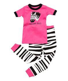 Love this Pink Zebra 'Catching Some Zzz's' Pajama Set - Toddler & Girls on #zulily! #zulilyfinds