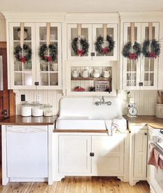 "motherofsoutherncharm: ""Let's face it, every kitchen deserves cabinet wreaths Source: Better Homes and Gardens """