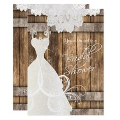 Bridal Shower in Rustic Wood and Lace Card Sold over 8680 times. Featuring a beautiful rustic wood plank background with white lace top border and a beautiful elegant wedding gown. Bridal Shower Luncheon, Bridal Luncheon Invitations, Rustic Bridal Shower Invitations, Bridal Invitations, Unique Bridal Shower, Bridal Showers, Invites, Baby Showers, Beautiful Bridal Dresses