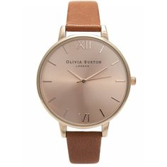 Olivia Burton Big Dial Watch - Tan & Rose Gold ($105) ❤ liked on Polyvore featuring jewelry, watches, accessories, quartz movement watches, oversized jewelry, rose gold watches, oversized wrist watch and dial watches