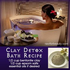 Clay Detox Bath Recipe using essential oils. The bentonite clay helps with removing a lot of toxins because it binds with heavy metals. The epsom salt also draws out toxins and replenishes magnesium levels