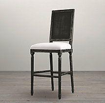Vintage French Square Cane Back Fabric Stool