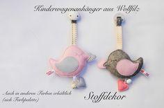 """Kinderwagenanhänger+aus+Wollfilz+""""Vögelchen""""+von+Stoffdekor+auf+DaWanda.com"""