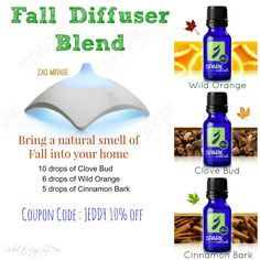 Fall Diffuser Blend - Spark Naturals Essential Oils. Use the code JEDDY for 10% off your entire order at checkout.