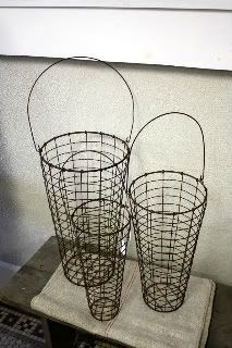 Wire baskets ... I am thinking dried flowers.