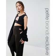Quontum Petite Contrast Crop Top (£35) ❤ liked on Polyvore featuring tops, black, petite, crop top, petite tops, round neck crop top, cutout tops and cut out top