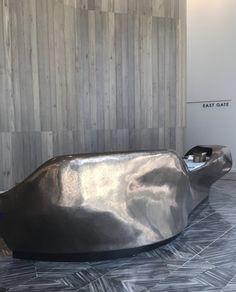 Luxe Surface Design Studio, liquid Metal Metal Furniture, Furniture Design, Reception Counter Design, Lobby Reception, Grill Restaurant, Liquid Metal, Metal Desks, Industrial Loft, Metal Bar