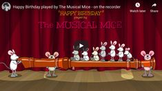Ten mice and one flute to sing and wish an Happy Birthday To You! Funny Happy Birthday Gif, Happy Birthday Piano, Happy Birthday Bunny, Happy Birthday Wishes Song, Happy Birthday Best Friend Quotes, Birthday Wishes For Kids, Happy Birthday Celebration, Birthday Songs, Singing Happy Birthday
