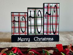 Ho Ho Ho Merry Christmas Blocks Sign - Holidays Mantle Decoration - Christmas Decoration - Holidays Table Display - Seasonal Wood Blocks