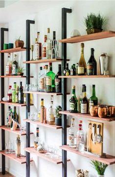 Diy Bar, Diy Home Bar, Home Bar Decor, Mini Bar At Home, Small Bars For Home, Bar Shelves, Wall Shelves Design, Wooden Shelves, Wall Shelving