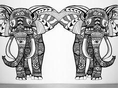 Wall Art Elephant | Speed Painting - YouTube