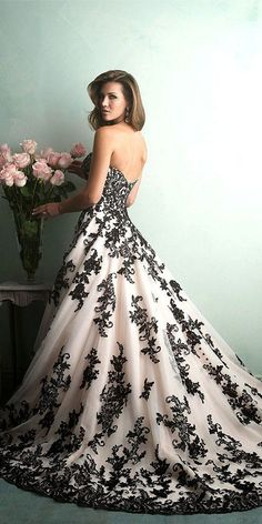 Allure bridals black and white lace wedding dress / http://www.himisspuff.com/black-wedding-dresses/2/