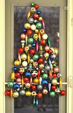 cute Christmas tree decoration made from ornaments #holiday #diy