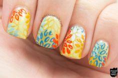 a burst of fresh flair, yellow, pattern, floral, nails, nail art, nail polish, sinfulcolors,