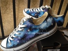 New Converse Galaxy Sneakers Hand Paint by EmilyTamHandPainting, $85.00