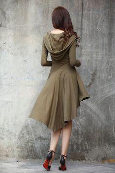 Boho Hoodie Dress / Hooded Dress / Long Sleeve Dress / Hooded Top / Asymmetric Hoodie in Army Green - Custom made - NC714
