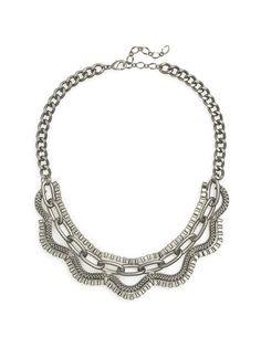 This matte metal necklace features a small bib comprised of a variety of chain links. Metal Necklaces, Chain, Unique Jewelry, Accessories, Fun Stuff, Style, Collection, Products