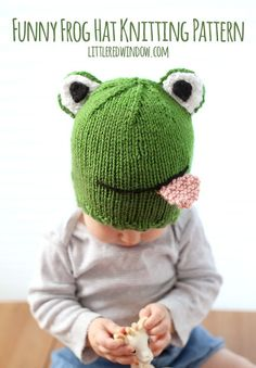 Knit this cute froggie hat by Little Red Window Crafts! Make it with Vanna's…