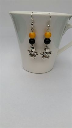 Football Earrings Football Jewellery Colours Black and Gold just like The Tigers