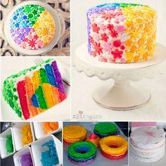 Rainbow Heart Layer Cake
