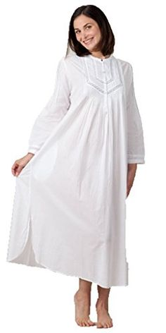 La Cera Women s Long Sleeve Nightgown S White at Amazon Women s Clothing  store  53a64aa07