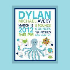 Under the Sea Nautical Nursery Wall Art Birth Announcement Printable Print Your Own 8X10