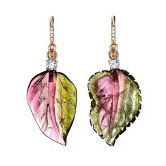 Irene Neuwirth one-of-a-kind carved watermelon tourmaline leaf earrings