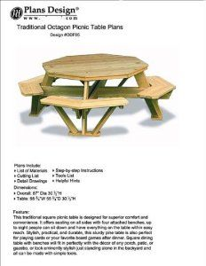 Traditional Octagon Picnic Table Plans / Pattern (How to build a outdoor furniture table, design # ODF05): Woodworking Plans: Amazon.com: Books